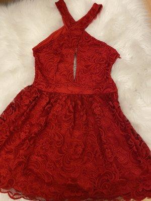 H&M Halter Dress dark red