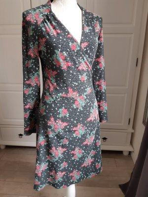 schönes Kleid v. Blutsgeschwister, langarm, anthrazit m. Animalprint und Blumen in rot/grün, 38