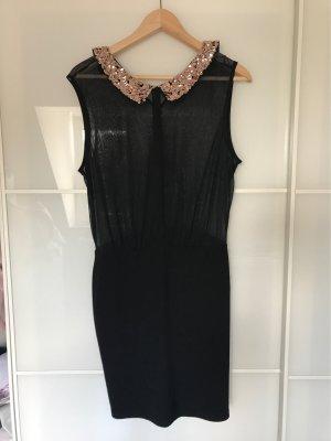 """Schönes """"kleines Schwarzes"""" Kleid mit Pailletten am Kragen in Roségold"""