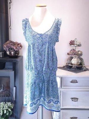 Schönes, luftiges Blumenkleid von Mango Gr M Sommerkleid Kleid Sommer Midi Midikleid Blumen Blumenkleid Tunikakleid verspielt blau grün weiss weiß