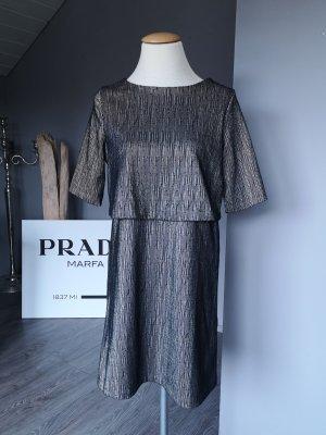 Schönes Midi-Kleid von Mango – Layer-Kleid Gr S gold schwarz edel elegant Business Businesskleid Stufenkleid Midi Midikleid Layerlook