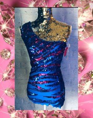 Poof! Vestido de lentejuelas azul-rosa
