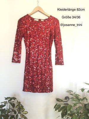 AX Paris Cekinowa sukienka czerwony Poliester