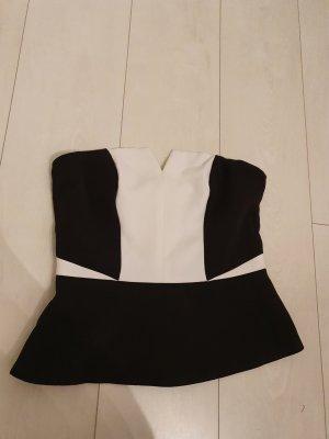 H&M Top z dekoltem typu bandeau czarny-biały
