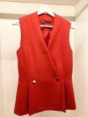 Zara Camisa con cuello V rojo