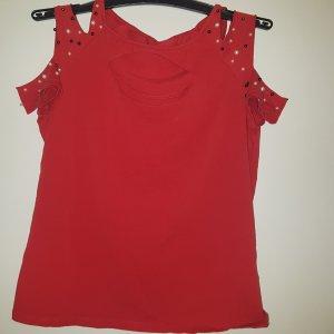 Schönes rotes Shirt mit Perlen Gr  38/40