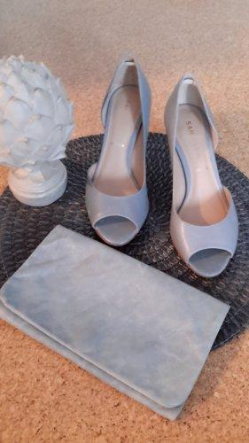 schönes Schuhe-Taschen-Set hellblau