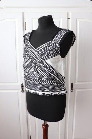 Schönes schwarz weißes Boho Vintage Crop Top Von Mango Größe M mit Stickerei Leinen Baumwolle