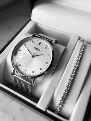 DMQ Montre avec bracelet métallique argenté métal