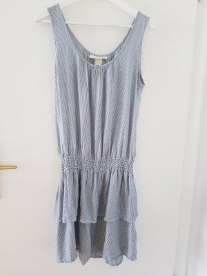 H&M Vestido estilo flounce blanco-azul celeste
