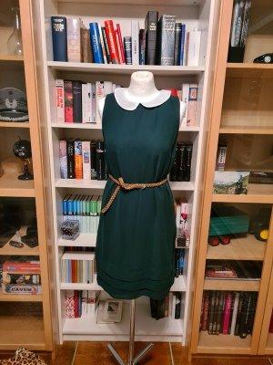 schönes Sommerkleid grün weiß Bubenkragen Gr. L Vero Moda Kleid