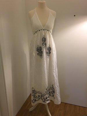 Robe dos-nu blanc-noir coton