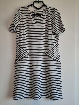 Soyaconcept Vestido de tela de sudadera blanco-azul oscuro