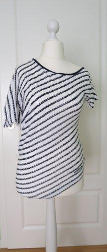 Adidas Top asymétrique blanc-bleu foncé coton