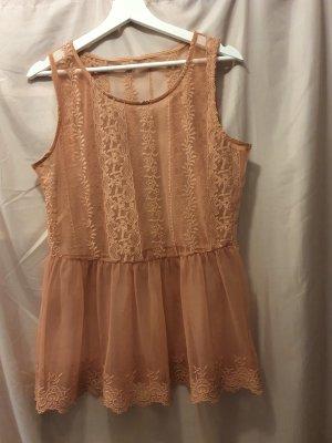 Top di merletto color oro rosa-rosa