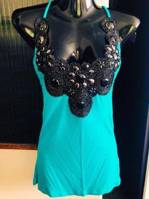 100% Fashion Haut à nouer autour du cou turquoise