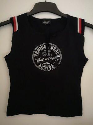 Venice beach T-shirt czarny-czerwony