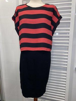 Vestido de tela de sudadera negro-salmón