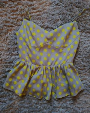 Zara Peplum Top light grey-yellow