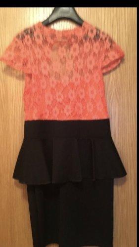 Vestido peplum negro-naranja
