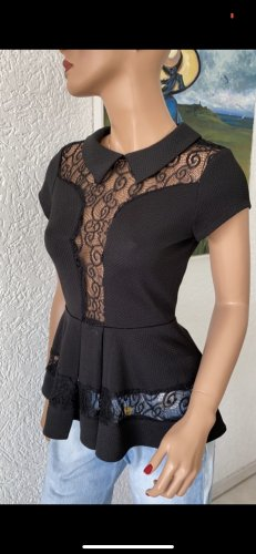 Double Zero Peplum Top black