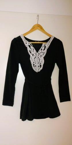 Top z baskinką czarny-biały Tkanina z mieszanych włókien