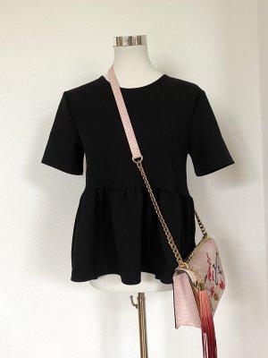 Zara Basic Haut à basque noir coton