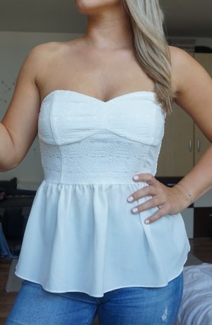 H&M Top peplum blanco