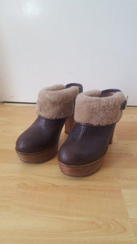 Scholl Ankle Boots mit Plateausohle und Absatz, Leder, Braun, Größe 39