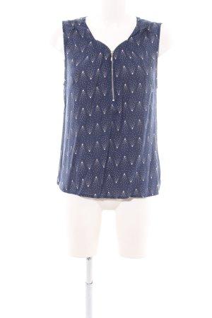 School rag Blusa senza maniche blu-bianco sporco stampa integrale stile casual
