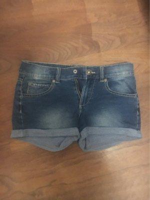 Benetton Jeans Pantalón corto de tela vaquera azul oscuro-azul neón