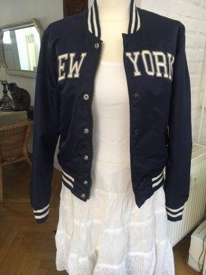 Schott New YORK Blouson Damen Navi- beige Collegestyle Gr. M Top Zustand