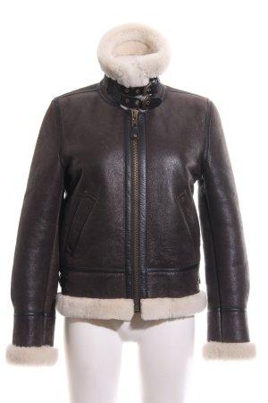 Schott NYC Veste en cuir brun-blanc cassé style décontracté