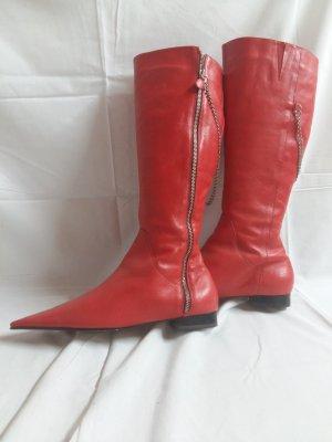Botas estilo vaquero rojo Cuero