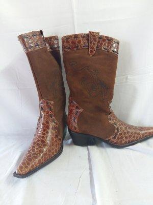 Botas estilo vaquero marrón Gamuza