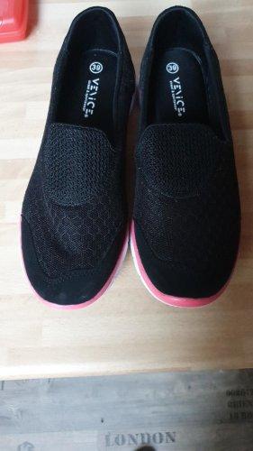 -8- Venice High top sneaker zwart-framboosrood