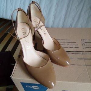 Schuh unisa, Ledersohlen, Lack, beige, Gr. 40, 11 cm Absatz