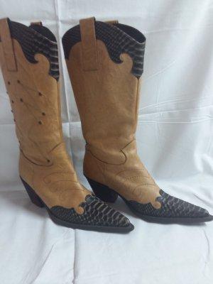 Botas estilo vaquero beige-marrón oscuro