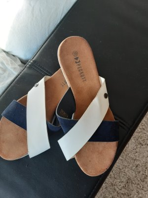 Platform High-Heeled Sandal white-dark blue