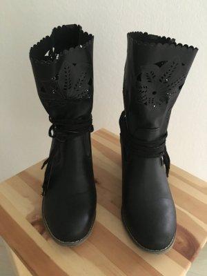Buty w stylu western czarny Tkanina z mieszanych włókien