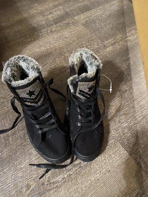 100% Fashion Chaussures à lacets noir-argenté