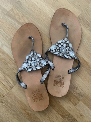 Geox Dianette Sandals light grey-silver-colored leather