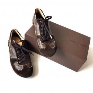 Louis Vuitton Lace-Up Sneaker dark brown-brown leather