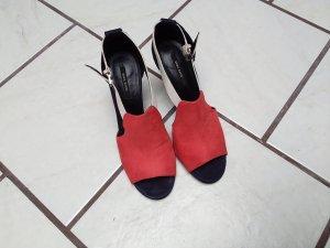 Zara Dianette sandalen neonoranje-donkerblauw Imitatie leer