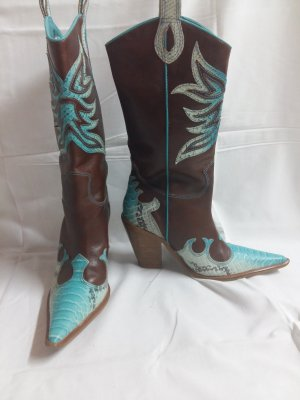 Boots western brun-turquoise
