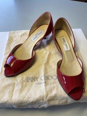 Jimmy Choo Peep Toe Pumps dark red