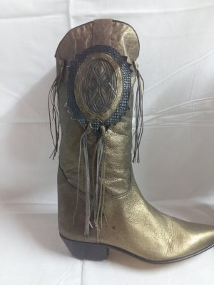 Western Boots gold-colored leather