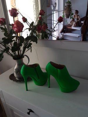 Peep Toe Booties neon green