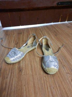 top or Ballerina's met bandjes zilver-zandig bruin