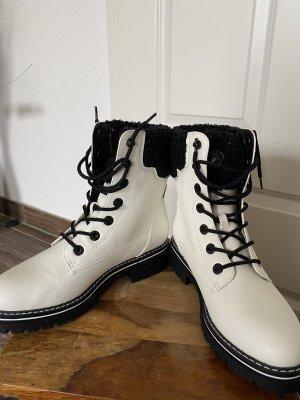 Bench Lace-up Booties white-black